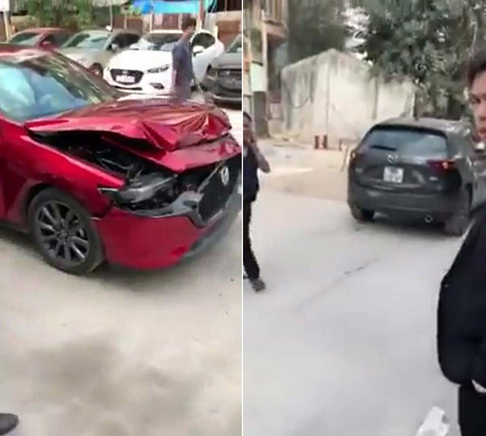 Chiếc Mazda3 2020 và Mazda CX-5 sau cú va chạm