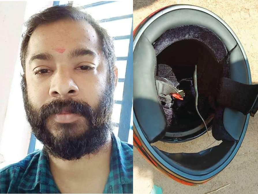 KA Ranjith đã có một phen hết hồn khi phát hiện một con rắn độc trong mũ bảo hiểm