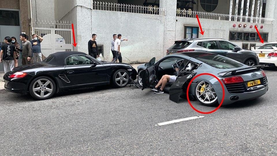 Siêu xe Audi R8 gãy trục bánh xe sau và bên hông ghế phụ hư hỏng khá nặng nề
