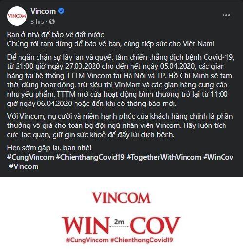 Thông báo chính thức của Vincom về việc tạm dừng hoạt động các gian hàng từ tối nay