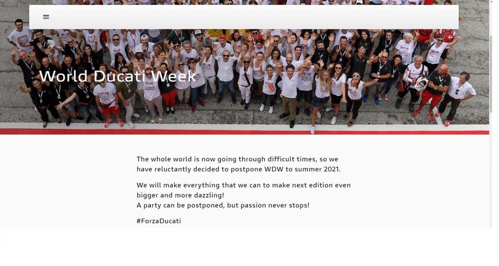 Thông báo được đưa ra trên trang chủ của sự kiện World Ducati Week 2020