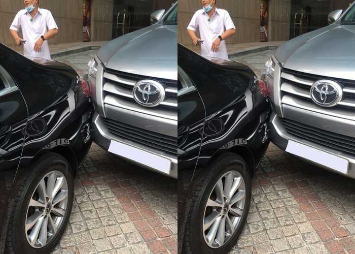 Hiện trường vụ va chạm của xe Toyota Fortuner và Mercedes-Benz E200 tại chỗ đỗ xe trước khách sạn Sheraton