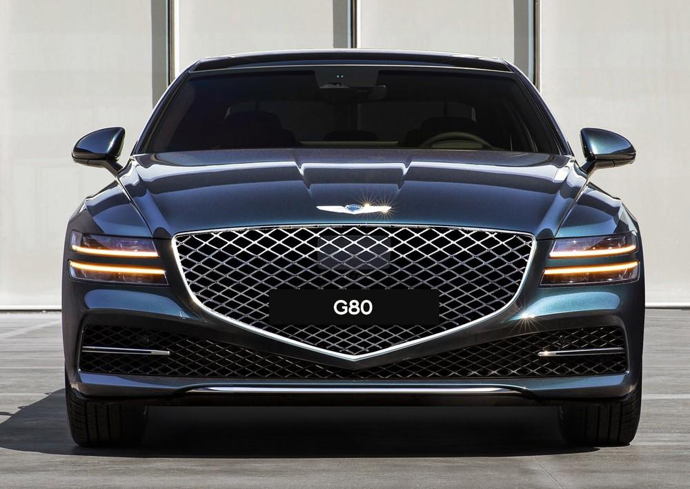 Genesis G80 2021 với lưới tản nhiệt hình cái khiên cỡ lớn