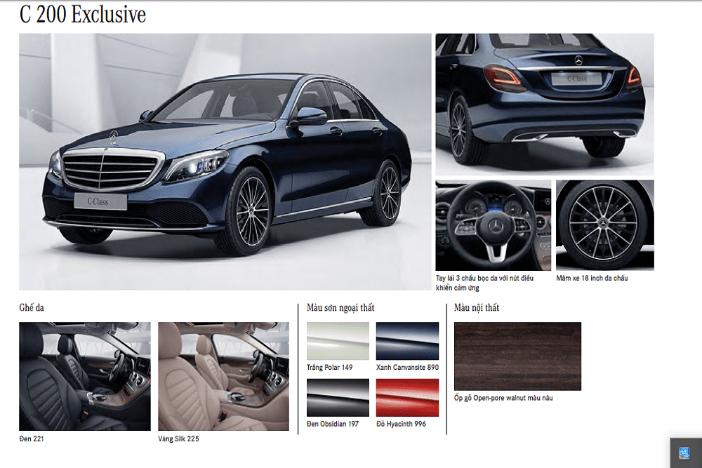 Màu xe Mercedes-Benz C 200 Exclusive 2020