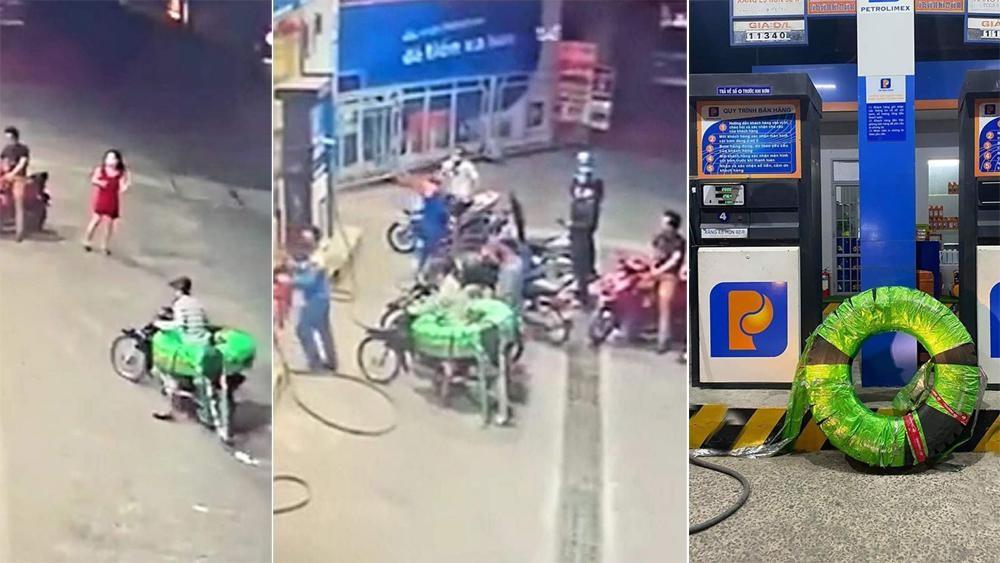 Tên trộm lốp xe tải bị phát hiện tại cây xăng ở Biên Hòa