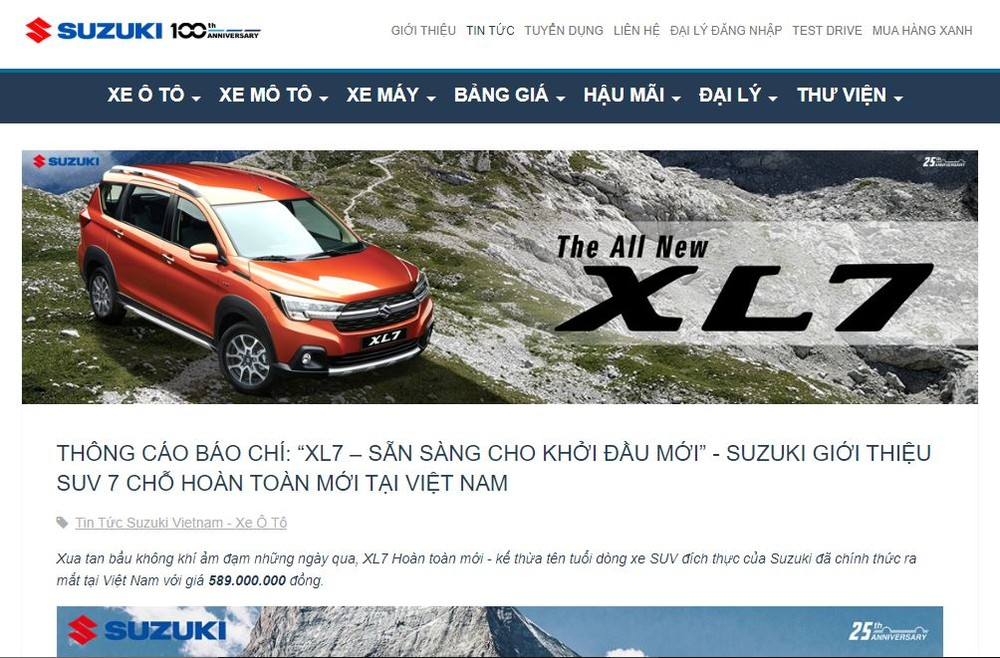 Suzuki XL7 2020 quietly launched in the Vietnamese market with a notice appearing on the homepage of Suzuki Vietnam