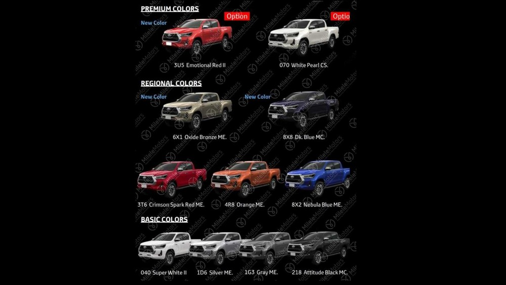 Paint options for the new Toyota Hilux