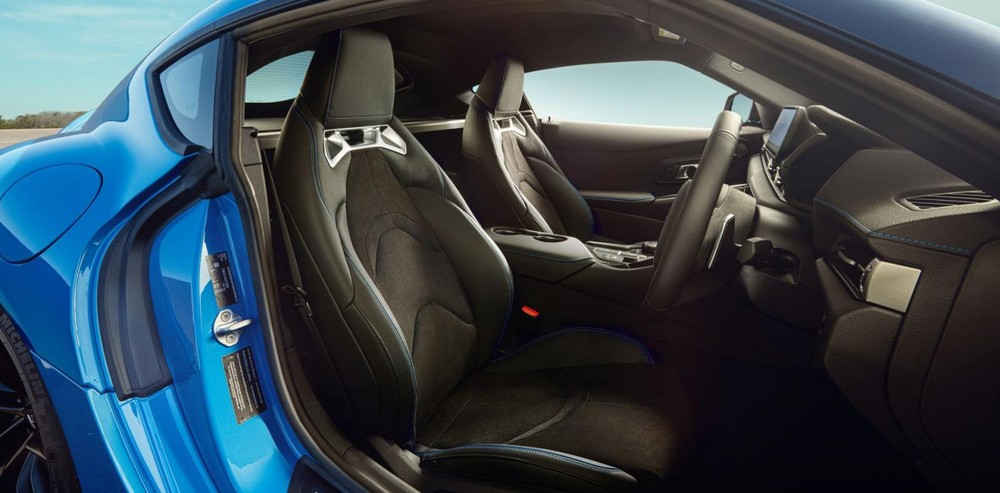 The interior of the car is upholstered in leather and high-class Alcantara