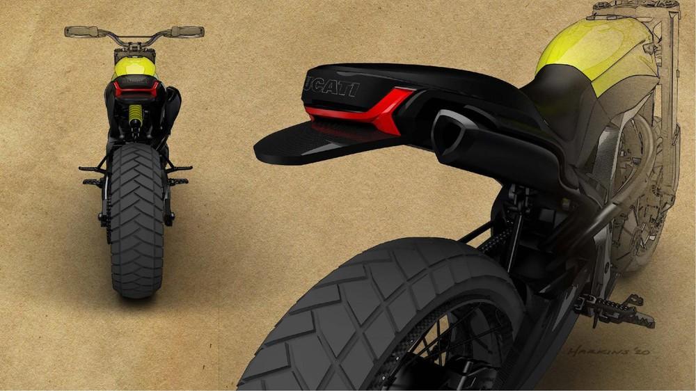Đuôi xe gọn gàng trên bản concept Ducati Scrambler