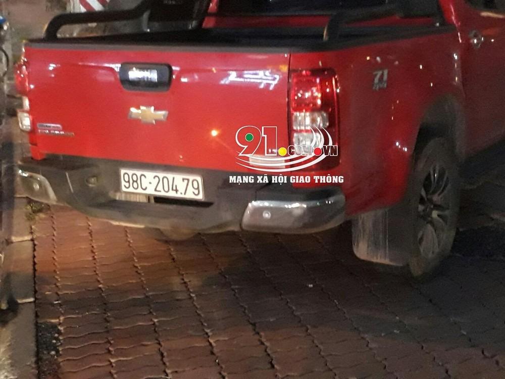 Chiếc Chevrolet Colorado đã bị công an phường Mai Động giữ lại để điều tra