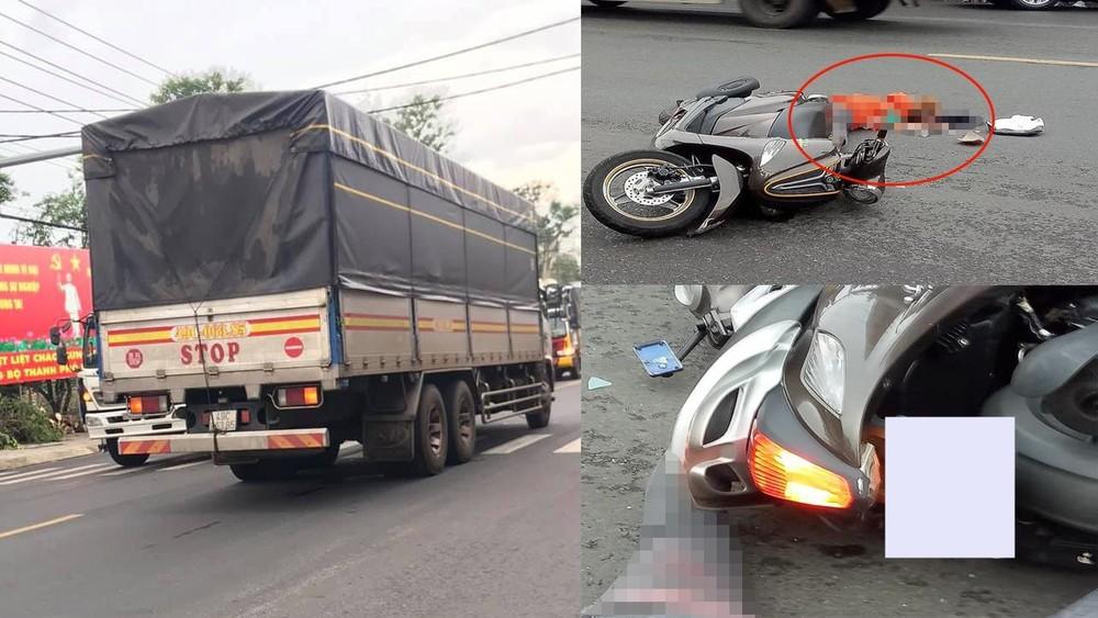 Chiếc xe tải cán qua đầu người phụ nữ điều khiển xe máy khiến người này tử vong tại chỗ