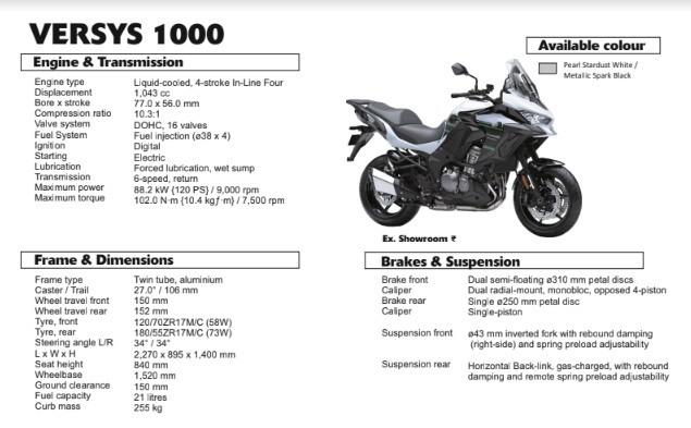 Các thông số kỹ thuật trên Kawasaki Versys 1000 2020