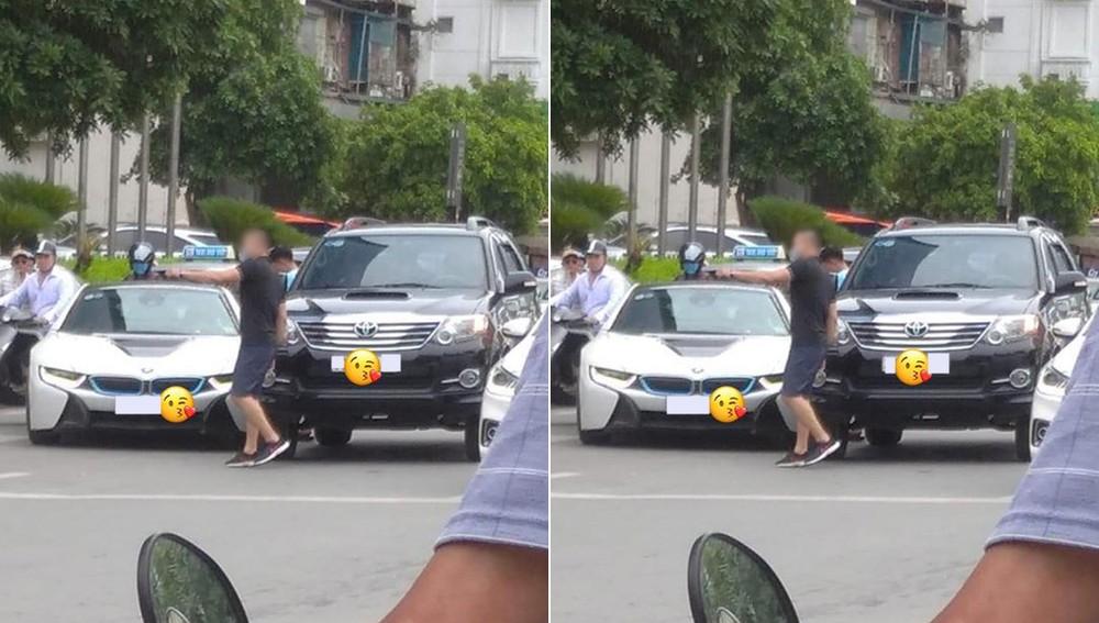 Hình ảnh hiếm hoi về vụ va chạm giao thông giữa xe BMW i8 và Toyota Fortuner tại Hà Nội vào trưa nay