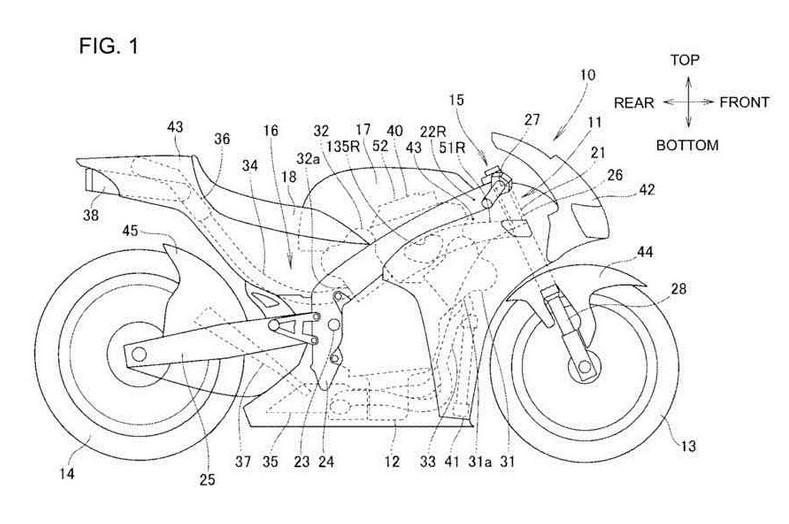 Thiết kế xe mô tô động cơ V4 của Honda