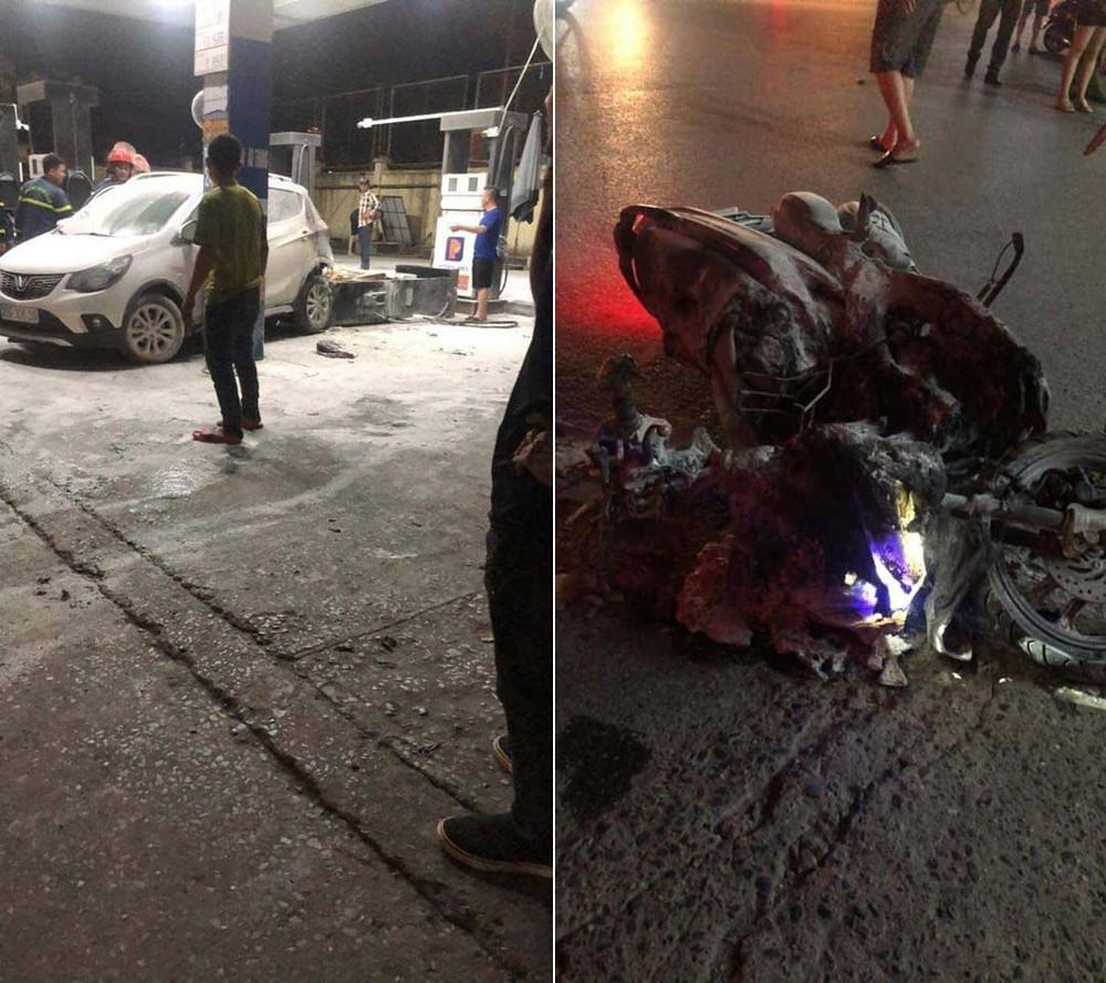 Cả chiếc VinFast Fadil và Honda Air Blade đều bị hỏng nặng sau vụ tai nạn