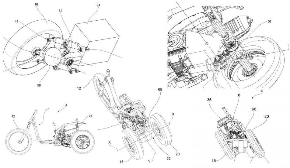 Thiết kế xe 3 bánh với hai bánh sau có khả năng nghiêng khi vào cua của Piaggio