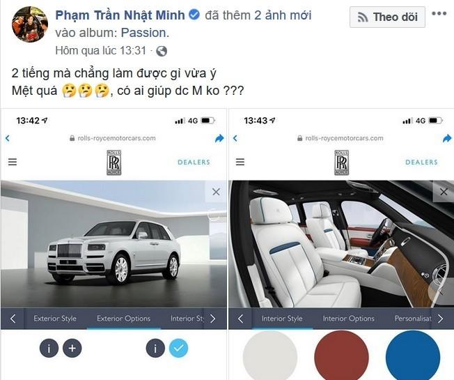Minh Nhựa từng chia sẻ đau đầu trong việc chọn cấu hình để mua SUV siêu sang Rolls-Royce Cullinan. Ảnh chụp từ màn hình