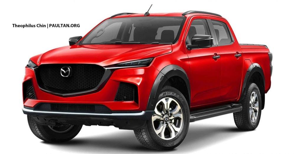 Hình ảnh phác họa trên máy tính của Mazda BT-50 2020