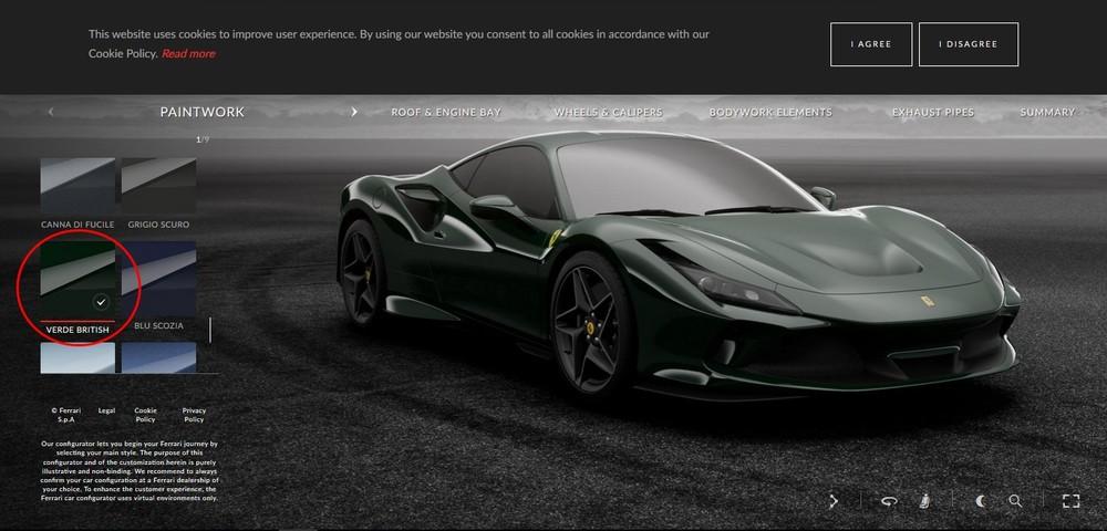Ferrari F8 Tributo đen