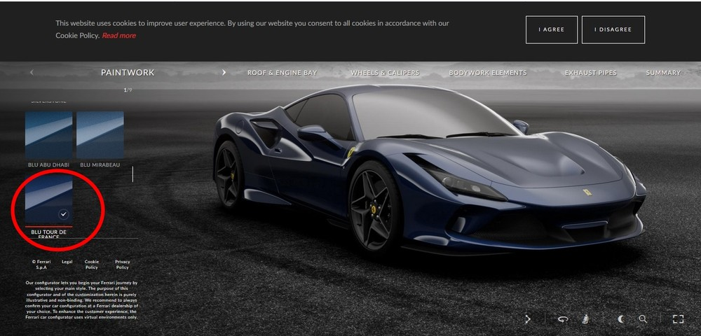 Ferrari F8 Tributo xanh than