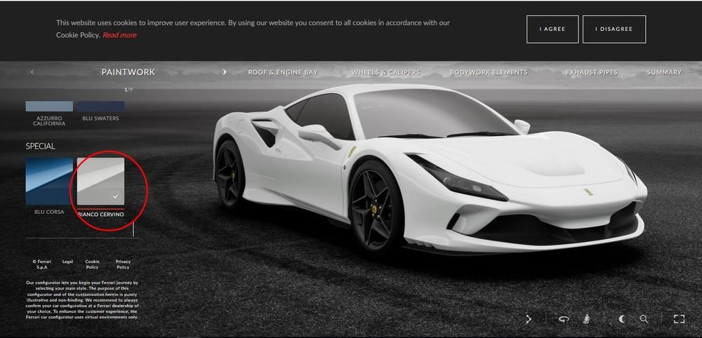 Ferrari F8 Tributo trắng