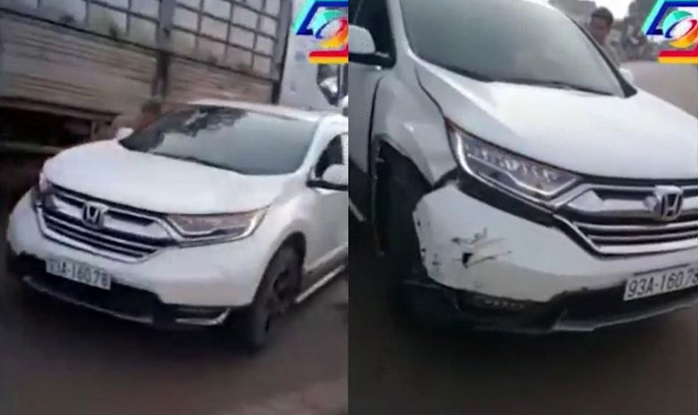 Chiếc Honda CR-V tại hiện trường vụ tai nạn