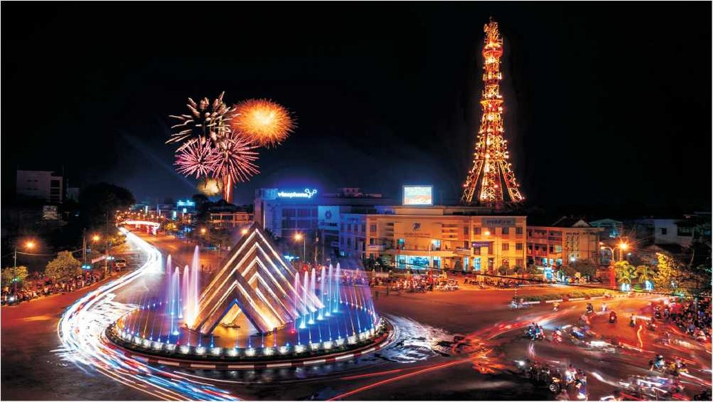 Quang cảnh thành phố Tây Ninh về trời tối