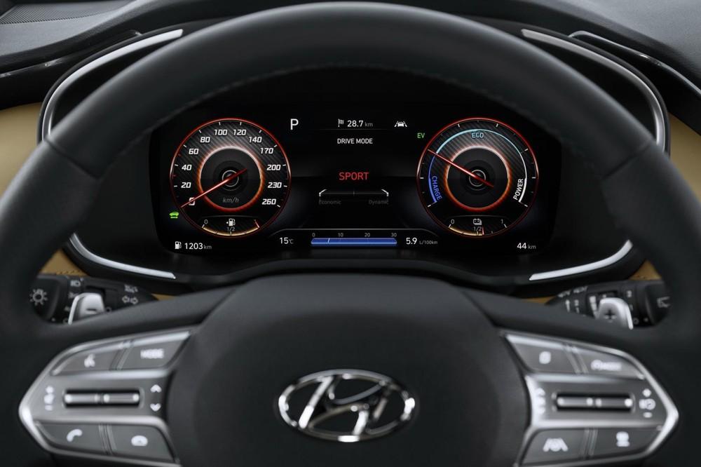 Bảng đồng hồ sau vô lăng của Hyundai Santa Fe 2021