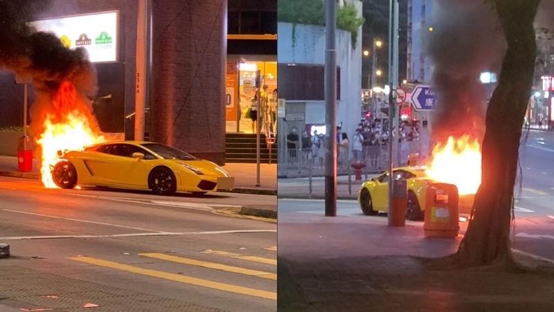 Ngọn lửa bùng cháy dữ dội ở phía đuôi siêu xe Lamborghini Gallardo
