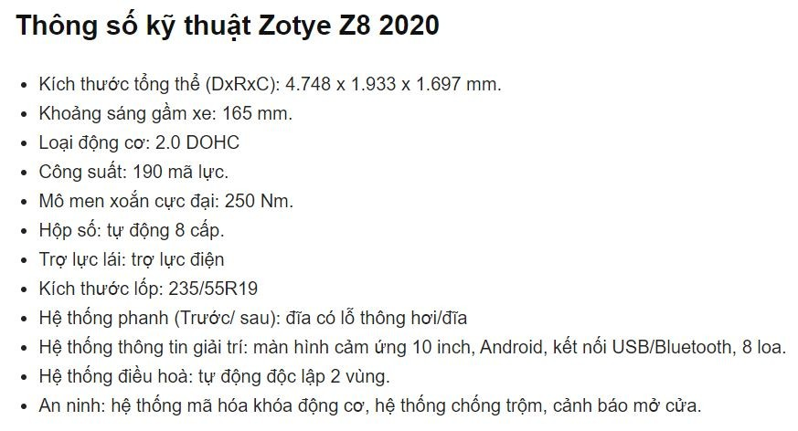 Giá xe Zotye Z8