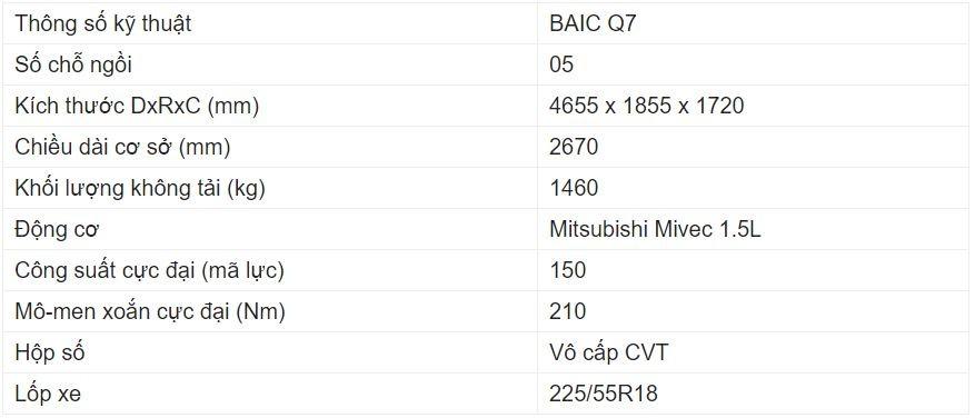 Giá xe BAIC Q7