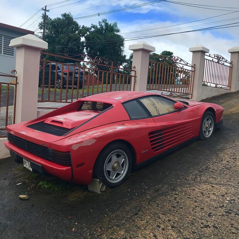 The Ferrari Testarossa has been outside the owner's home for 17 years