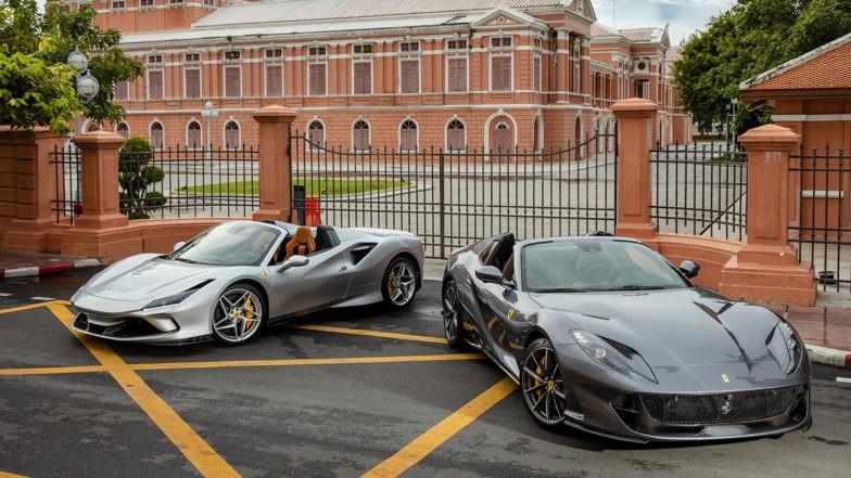 Cặp đôi siêu xe mui trần Ferrari ra mắt tại Thái Lan. Kế bên Ferrari 812 GTS chính là Ferrari 488 Spider có giá bán tại Thái Lan từ 19 tỷ đồng