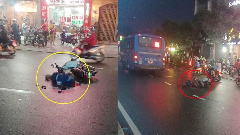 Hiện trường vụ xe máy va chạm với xe buýt làm một người tử vong tại chỗ