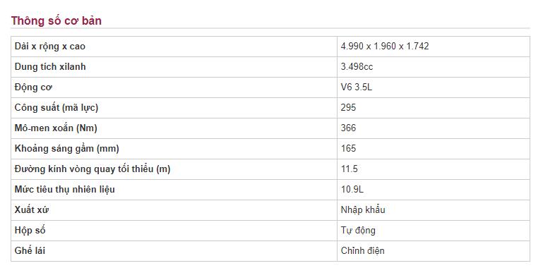 Bảng thông số kỹ thuật của xe Infiniti QX6