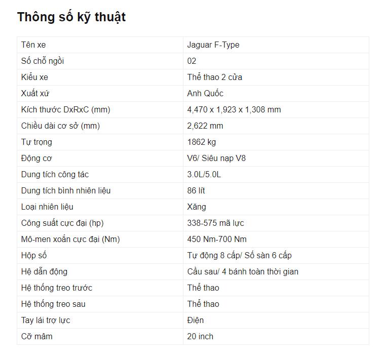 Bảng thông số kỹ thuật của xe Jaguar F Type