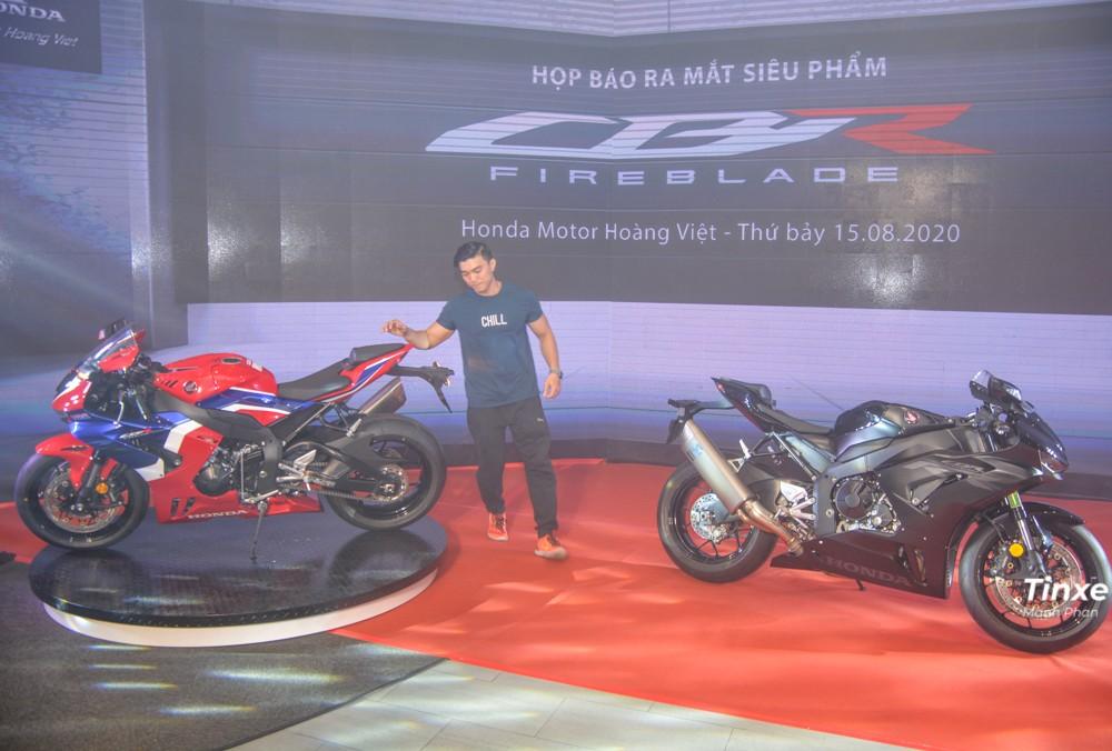 Cặp đôi Honda CBR1000RR-R Fireblade 2020 với 2 màu sắc là xanh-đỏ-trắng và đen bóng