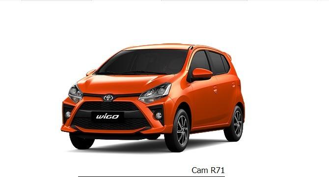 Giá xe Toyota Wigo màu cam dao động từ 352 - 385 triệu đồng