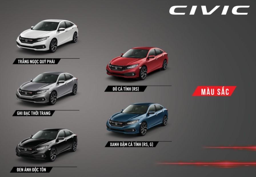 Tùy chọn màu sắc ngoại thất của Honda Civic.