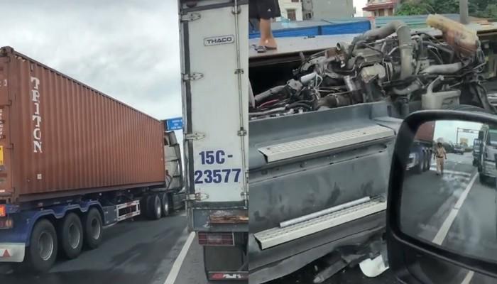 Chiếc xe container biển số Bắc Ninh tông vào đuôi xe container biển số Hải Phòng