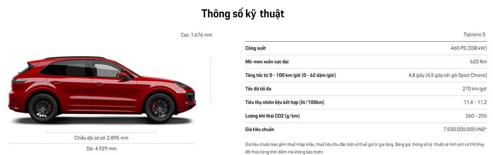 Thông số kĩ thuật chi tiết của Porsche Cayenne GTS 2020