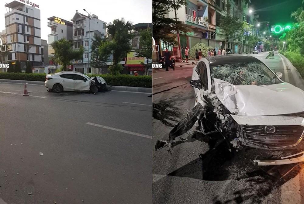 Chiếc ô tô Mazda tại hiện trường vụ tai nạn