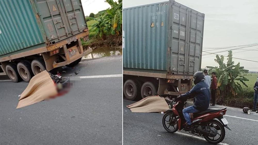 Hiện trường vụ người đi xe máy tông vào đuôi xe container đang dừng đỗ bên đường dẫn đến tử vong ngay tại chỗ