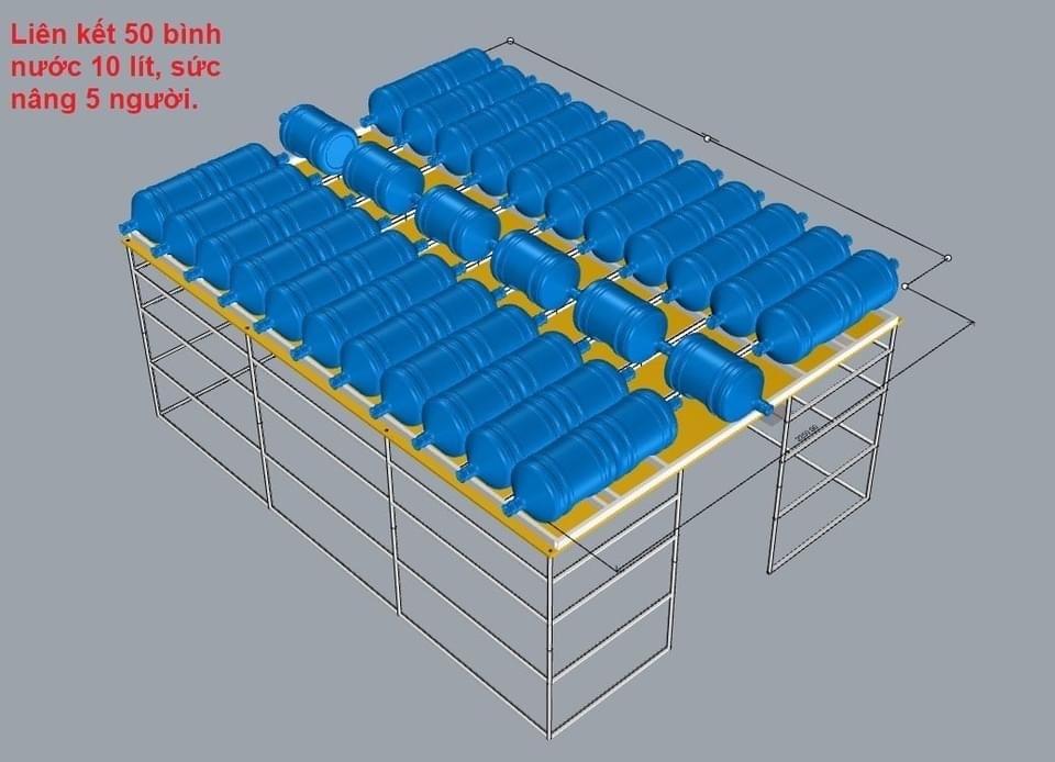 Mô hình kết nối các bình nước để tạo bè nổi. (Ảnh: Lam Luong)