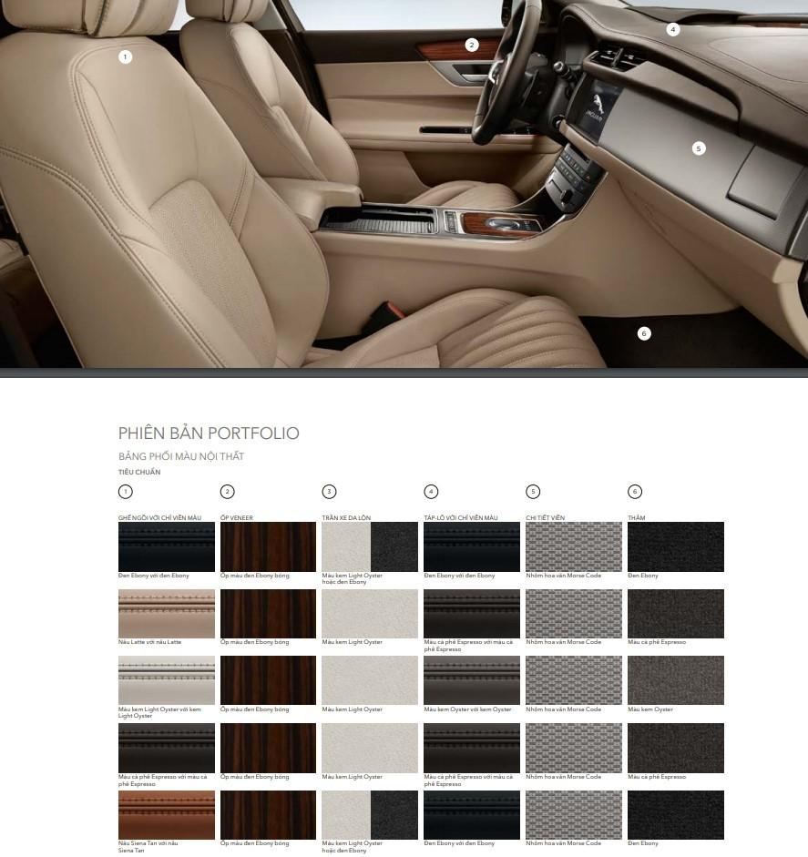 Bảng phối màu nội thất trên phiên bản XF 2.0 Portfolio