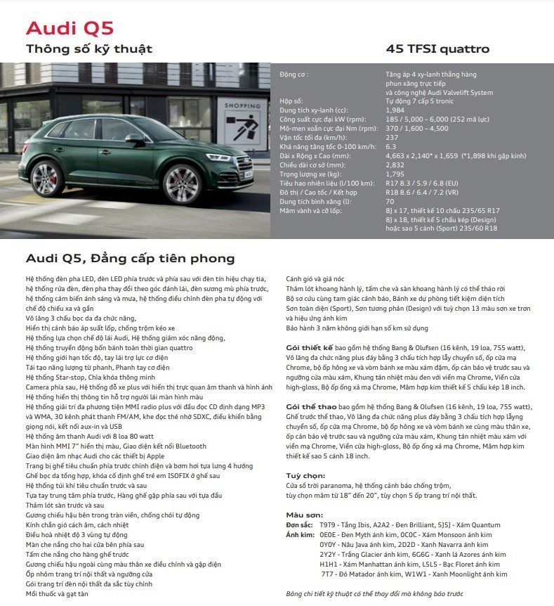 Thông số kỹ thuật Audi Q5