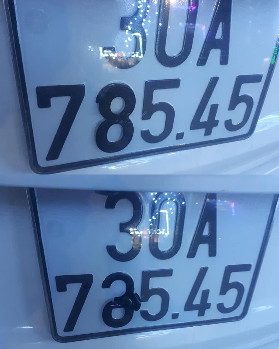 Một cách lái xe thay đổi biển số của mình bằng băng dính đen.