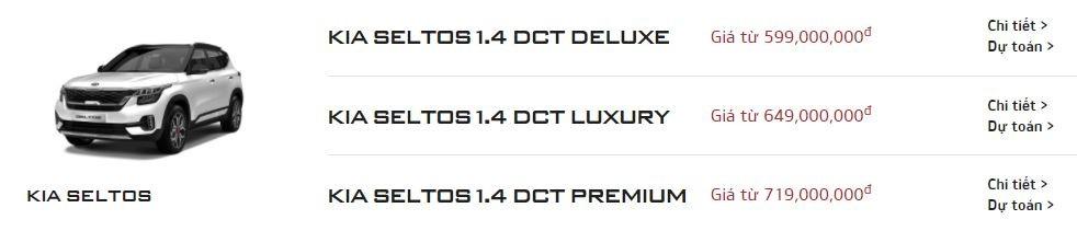 Bảng giá của Kia Seltos trên trang chủ của Kia Việt Nam chỉ còn lại 3 phiên bản.