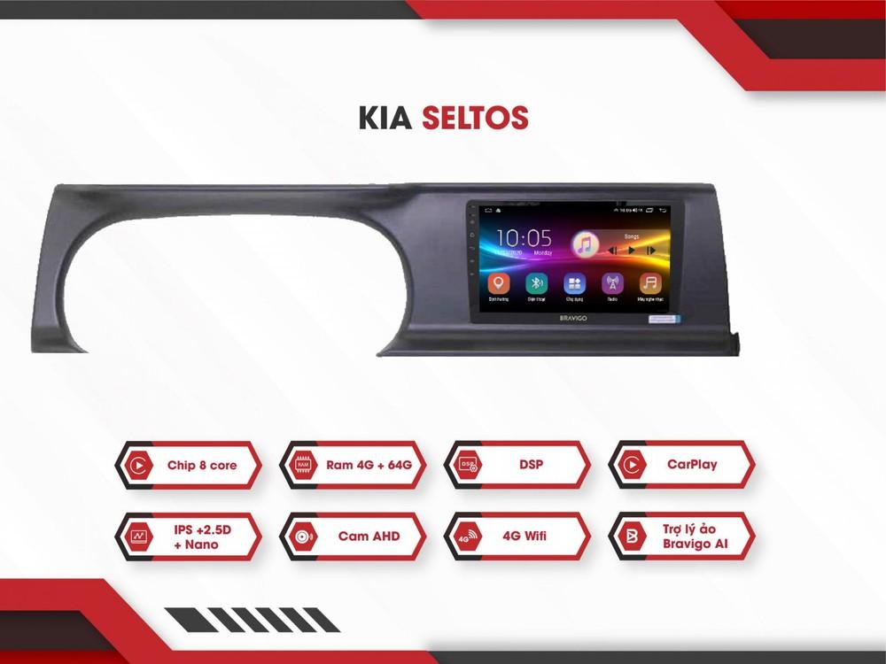 Kia Seltos là một mẫu xe mới được ra mắt thị trường Việt Nam vào tháng 7/2020 nhưng Bravigo cũng đã nhanh chóng cập nhật sản phẩm màn hình tương ứng, đi kèm phần ốp nhựa cho bảng đồng hồ của xe.