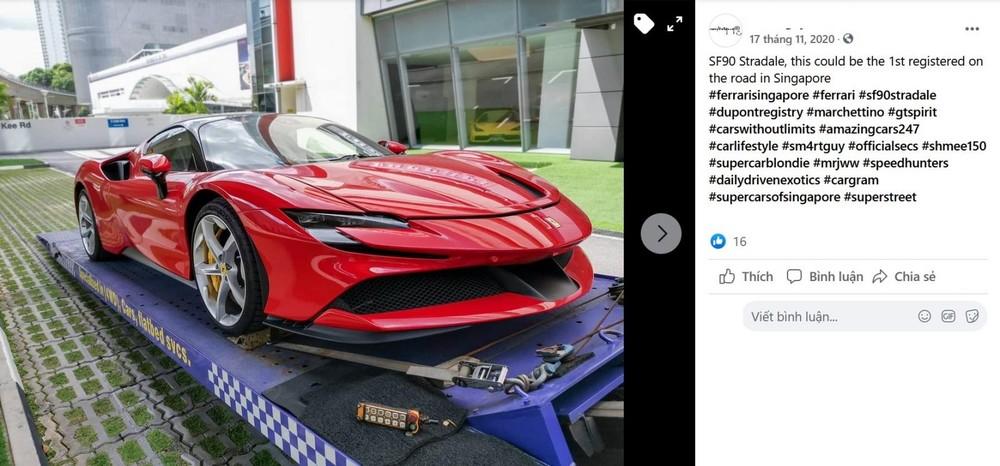 Thông tin đăng tải ảnh cho thấy siêu xe Ferrari SF90 Stradale đầu tiên đến Singapore vào tháng 11 năm 2020, nhanh hơn so với thời gian giao hàng của đại lý Ferrari công bố là 2021